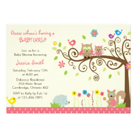 Cute Pink Owl Girl Baby Shower Invitations Personalized Invitation