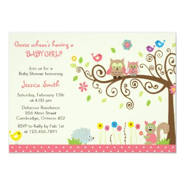 16girls Cute Pink Owl Girl Baby Shower Invitations