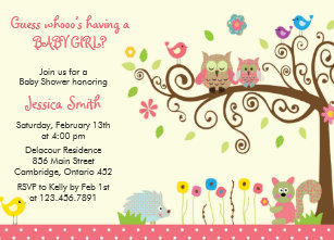 Owl baby shower invitations announcements zazzle cute pink owl girl baby shower invitations filmwisefo