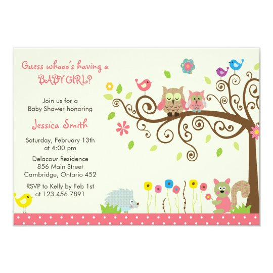 Cute Pink Owl Girl Baby Shower Invitations Zazzle Com