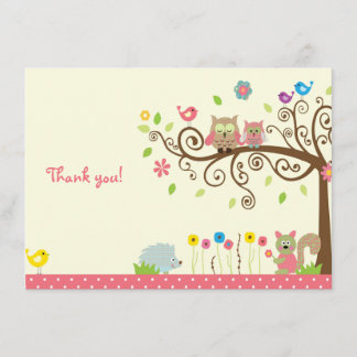 aba62a3b89fc Cute Pink Owl Girl Baby Shower Thank You Cards