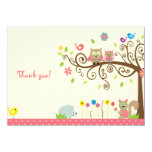 Cute Pink Owl Girl Baby Shower Thank You Cards
