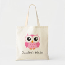 Cute pink owl girls personalized library book tote bag