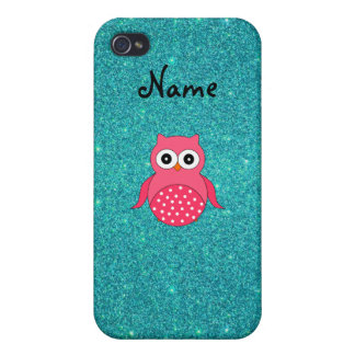Cute pink owl glitter case for iPhone 4