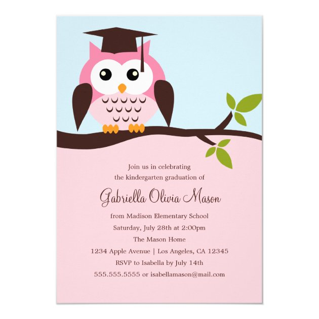 Cute Pink Owl Graduation Party Invitation