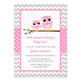 Owl baby shower invitations zazzle cute pink owl gray chevron girl baby shower invitation filmwisefo