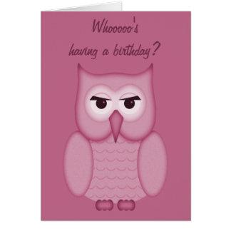 Cute Pink Owl Happy Birthday Card