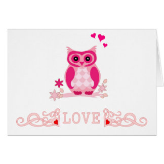 Cute Pink Owl HEart Love Valentine Stationery Note Card