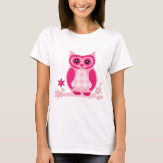 Cute Pink Owl Illustration T-Shirt