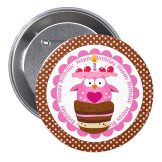 Cute Pink Owl in Birthday Cupcake Button