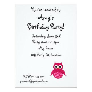 Cute pink owl custom invitations