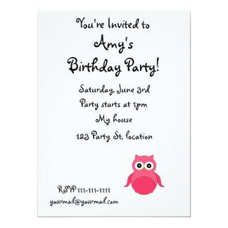 Cute pink owl custom invites
