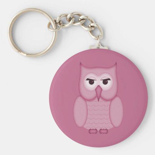 Cute Pink Owl Keychain