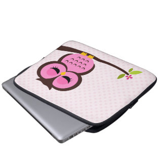Cute Pink Owl Laptop Computer Sleeve