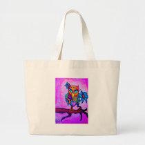 Cute Pink Owl Large Tote Bag