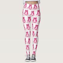 Cute pink  owl Leggings