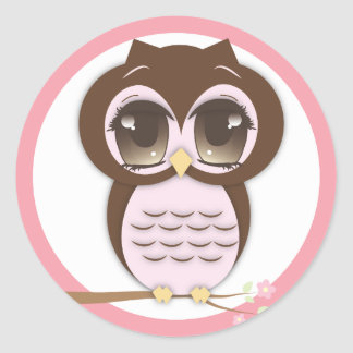 Cute Pink Owl Lil Girl Classic Round Sticker