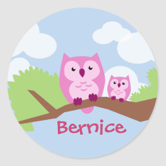 Cute Pink Owl Mom and Baby Classic Round Sticker