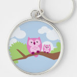 Cute Pink Owl Mom and Baby Key Chains