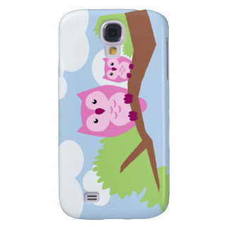 Cute Pink Owl Mom and Baby Samsung Galaxy S4 Cover