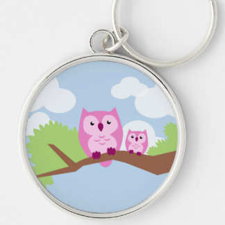 Cute Pink Owl Mom and Baby Silver-Colored Round Keychain