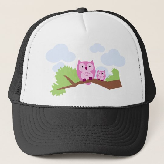 Cute Pink Owl Mom and Baby Trucker Hat