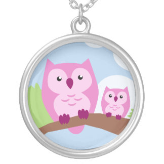 Cute Pink Owl Mother and Child Necklace