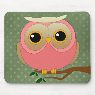 Cute Pink Owl Mouse Pad