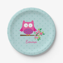 Cute Pink Owl on a Branch Personalized Paper Plate