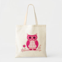 Cute pink owl on a Branch  Personalized tote bag