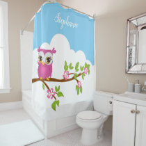 Cute pink owl on a branch shower curtain