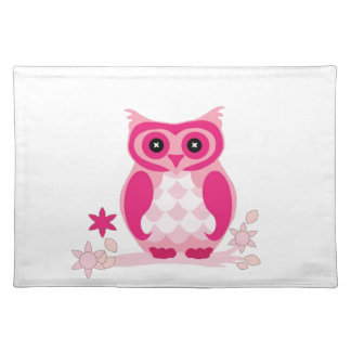 Cute Pink Owl on a Limb with Flowers Place Mats