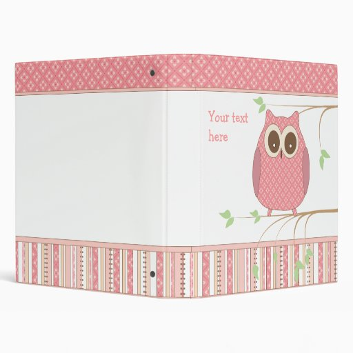 Cute Pink Owl on a Tree Branch 3 Ring Binders