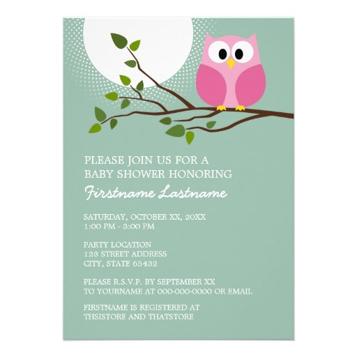 Cute Pink Owl on Branch Baby Girl Shower Custom Announcement