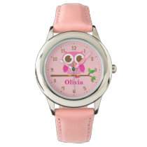 Cute Pink Owl On Branch Girls Personalized Watch