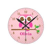 Cute Pink Owl on Branch Girls Wall Decor Clock