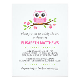 Cute pink owl on floral branch girl baby shower card