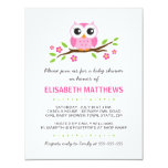 Cute pink owl on floral branch girl baby shower invitation