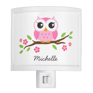 Cute pink owl on floral branch personalized name nite lite