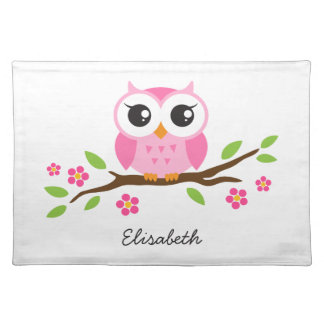 Cute pink owl on floral branch personalized name cloth placemat