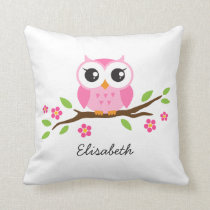 Cute pink owl on floral branch personalized name throw pillow