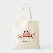 Cute pink owl on floral branch personalized name tote bag