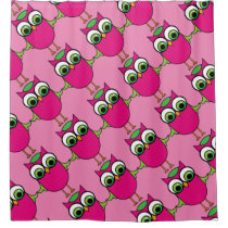 Cute Pink Owl on Pink Diagonal Pattern Shower Curtain