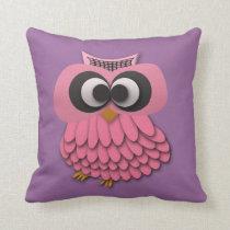 Cute Pink Owl on Purple Pillow