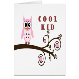 Cute Pink Owl On Tree Branch Card