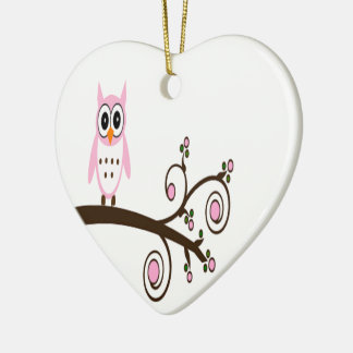 Cute Pink Owl On Tree Branch Ceramic Ornament
