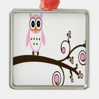 Cute Pink Owl On Tree Branch Metal Ornament