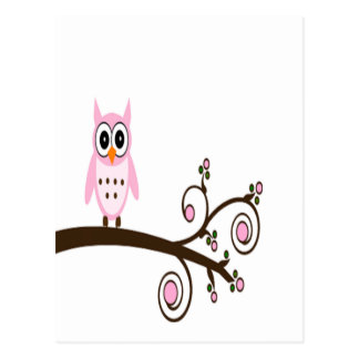 Cute Pink Owl On Tree Branch Postcard