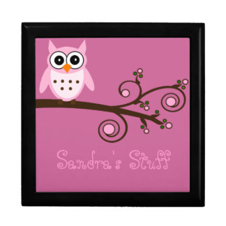 Cute Pink Owl Personalized Girl's Room Keepsake Box