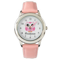 Cute pink owl personalized name wrist watch